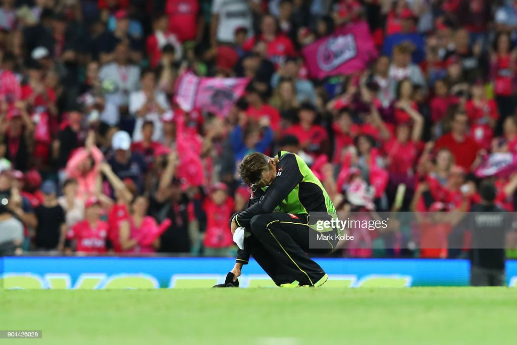Chris Green of the Thunder looks dejected after defeat during the Big Bash League match between the Sydney Sixers and the Sydney Thunder at Sydney Cricket Ground on January 13, 2018 in Sydney, Australia.