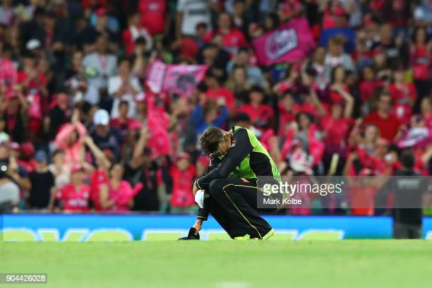 Chris Green of the Thunder looks dejected after defeat during the Big Bash League match between the Sydney Sixers and the Sydney Thunder at Sydney...