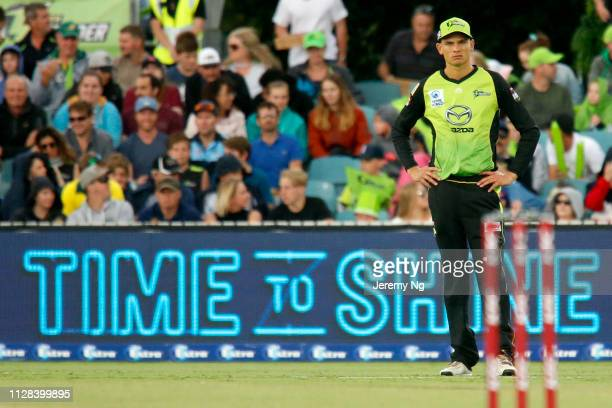 Chris Green of the Thunder looks on dejected during the Big Bash League match between the Sydney Thunder and the Hobart Hurricanes at Manuka Oval on...