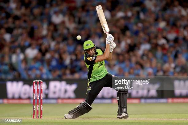 Chris Green of the Thunder plays a shot during the Big Bash League match between the Adelaide Strikers and the Sydney Thunder at Adelaide Oval on...