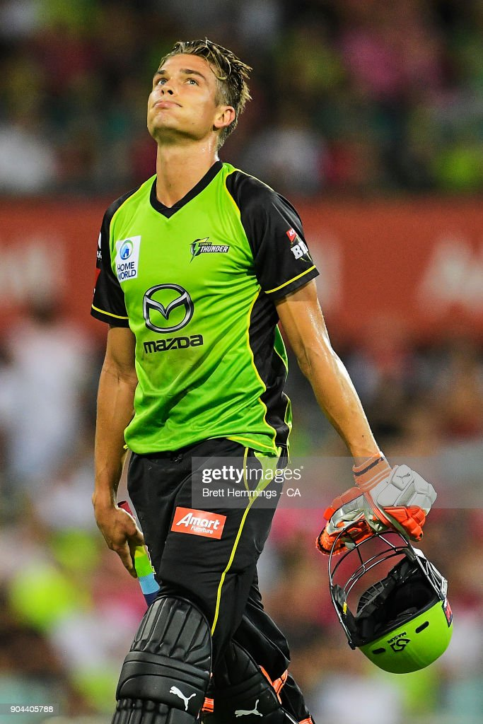 Chris Green of the Thunder shows his dejection after being run out by Peter Nevill of the Sixers during the Big Bash League match between the Sydney Sixers and the Sydney Thunder at Sydney Cricket Ground on January 13, 2018 in Sydney, Australia.