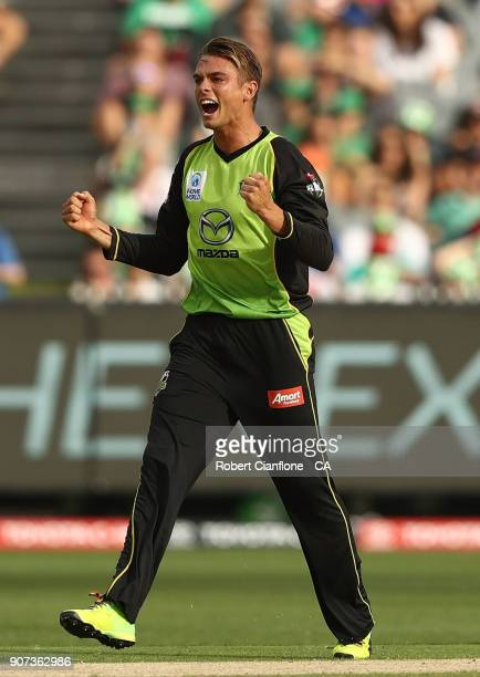 Chris Green of the Thunder takes the wicket of Kevin Pietersen of the Stars during the Big Bash League match between the Melbourne Stars and the...