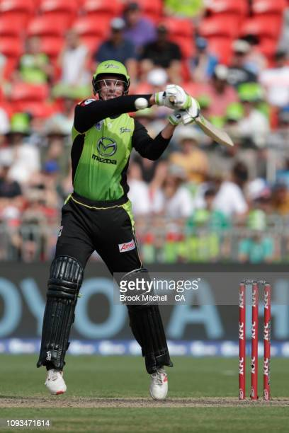 Chris Green plays a stroke during the Big Bash League match between the Sydney Thunder and the Adelaide Strikers at Spotless Stadium on January 13...