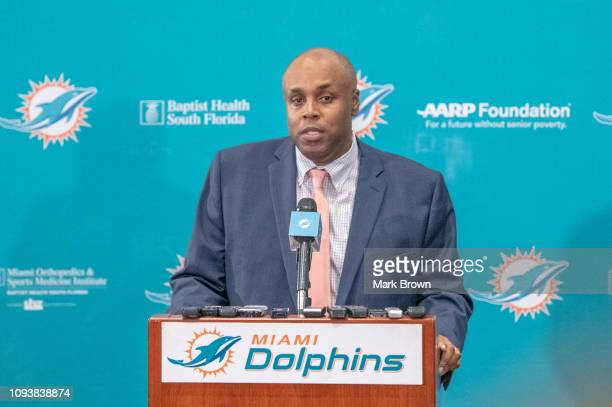 Chris Grier General Manager of the Miami Dolphins speaks during a press conference as he introduces Brian Flores as the new Head Coach of the Miami...