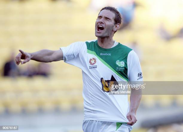 Chris Grossman of the Fury celebrates his last minute goal during the round seven ALeague match between the Wellington Phoneix and North Queensland...