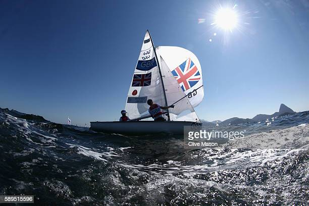 Chris Grube and Luke Patience of Great Britain in action before their 470 class race on Day 9 of the Rio 2016 Olympic Games at the Marina da Gloria...
