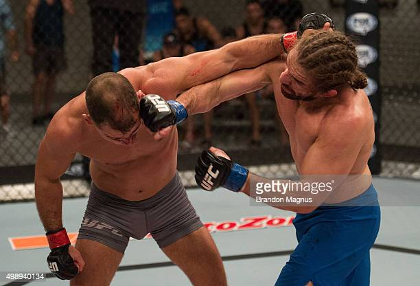 Chris Gruetzemacher punches Artem Lobov during the filming of The Ultimate Fighter Team McGregor vs Team Faber at the UFC TUF Gym on August 18 2015...