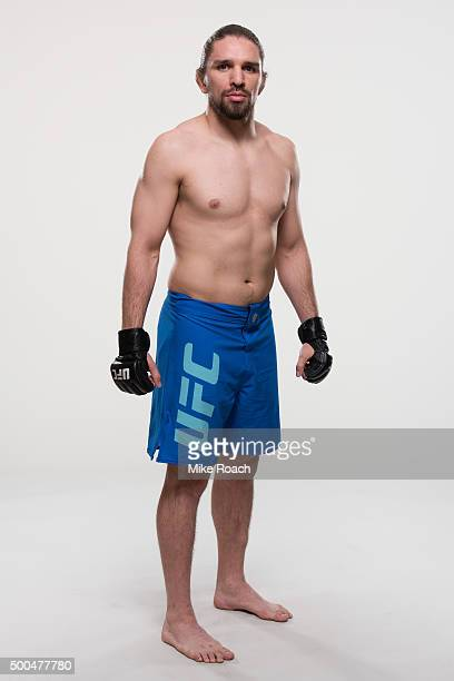 Chris Gruetzmacher of the United States poses for a portrait during a UFC portrait session at MGM Grand Garden Arena on December 8 2015 in Las Vegas...