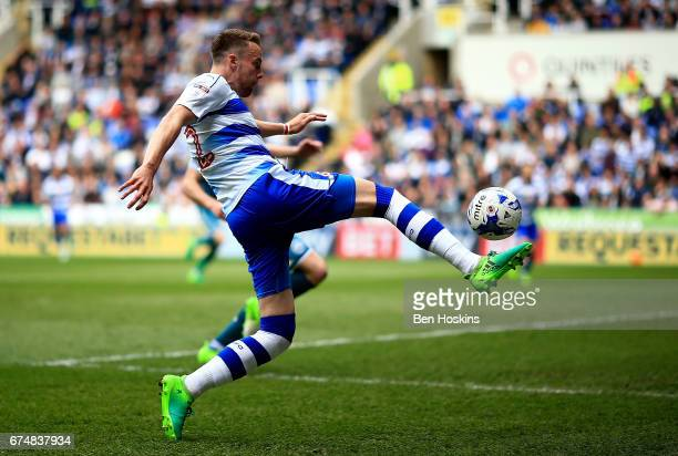 Chris Gunter of Reading crosses the ball during the Sky Bet Championship match between Reading and Wigan Athletic at Madejski Stadium on April 29...