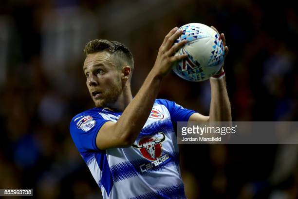 Chris Gunter of Reading takes a throwin during the Sky Bet Championship match between Reading and Norwich City at Madejski Stadium on September 30...