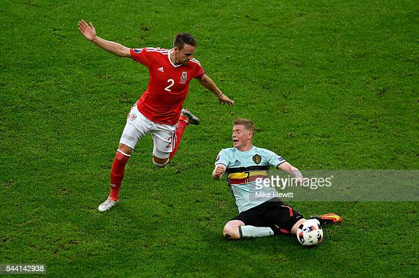 Chris Gunter of Wales and Kevin De Bruyne of Belgium compete for the ball during the UEFA EURO 2016 quarter final match between Wales and Belgium at...