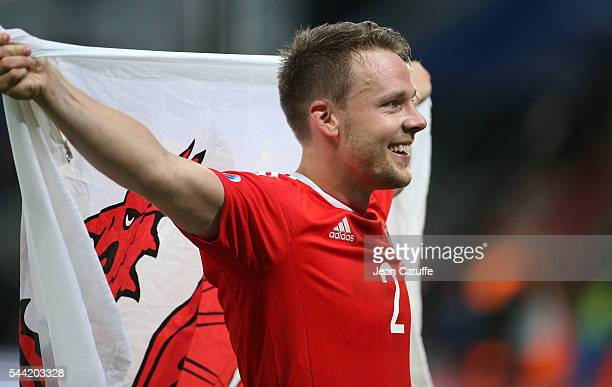 Chris Gunter of Wales celebrates the victory following the UEFA Euro 2016 quarter final match between Wales and Belgium at Stade PierreMauroy on July...