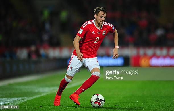 Chris Gunter of Wales during the 2018 FIFA World Cup Qualifier between Wales and Moldova at the Cardiff City Stadium on September 5 2016 in Cardiff...