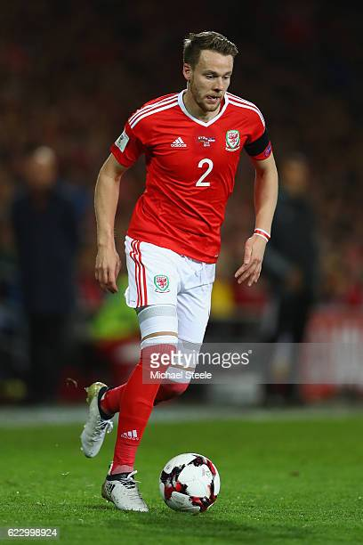 Chris Gunter of Wales during the FIFA 2018 World Cup Qualifier between Wales and Serbia at Cardiff City Stadium on November 12 2016 in Cardiff Wales