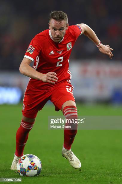 Chris Gunter of Wales during the UEFA Nations League B group four match between Wales and Denmark at Cardiff City Stadium on November 16, 2018 in...