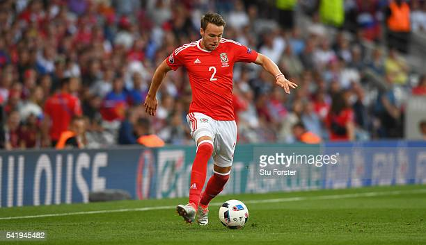 Chris Gunter of Wales in action during the UEFA EURO 2016 Group B match between Russia and Wales at Stadium Municipal on June 20 2016 in Toulouse...