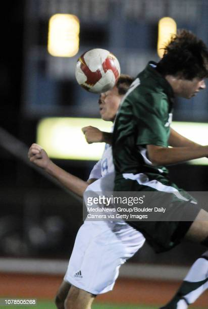 Chris Gurule Niwot collides with Todd Summerfield Broomfield during play Wednesday at Elizabeth Kennedy Stadium October 29 2008 staff photo/ David R...