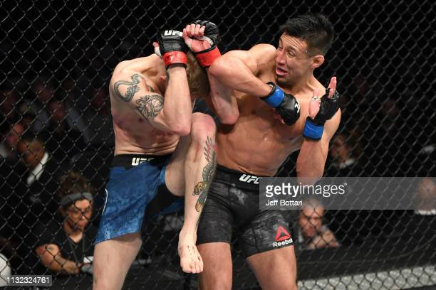 Chris Gutierrez elbows Ryan MacDonald in their bantamweight bout during the UFC Fight Night event at Bridgestone Arena on March 23, 2019 in...