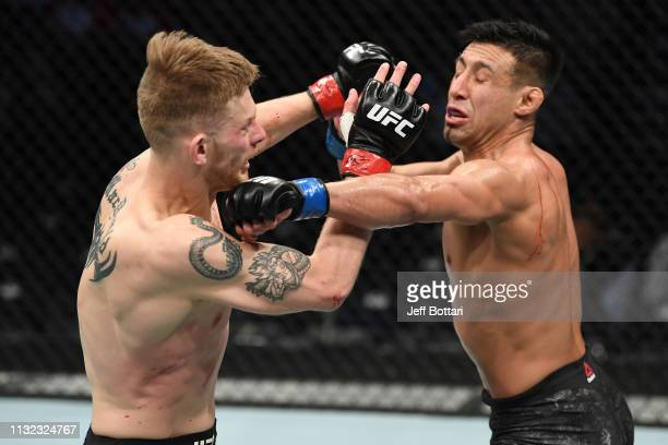 Chris Gutierrez punches Ryan MacDonald in their bantamweight bout during the UFC Fight Night event at Bridgestone Arena on March 23, 2019 in...