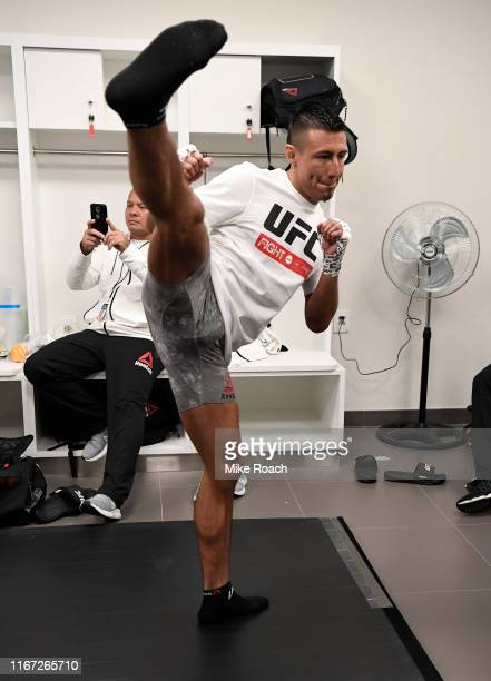 Chris Gutierrez warms up prior to his bout during the UFC Fight Night event at Antel Arena on August 10 2019 in Montevideo Uruguay