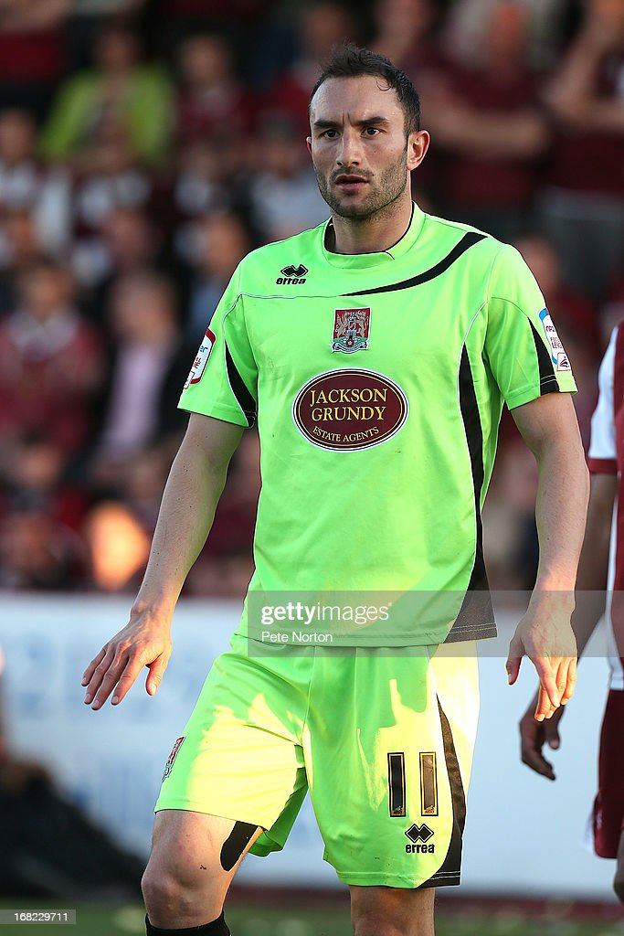 Chris Hackett of Northampton Town in action during the npower League Two Play Off Semi Final Second Leg between Cheltenham Town and Northampton Town at Abbey Business Stadium on May 5, 2013 in Cheltenham, England.