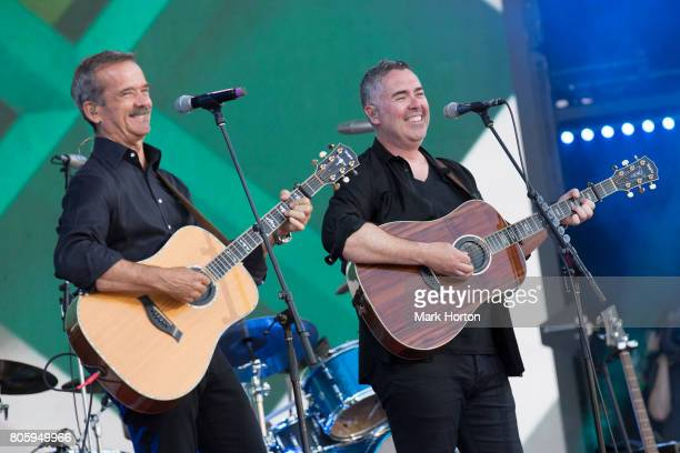 Chris Hadfield and Ed Robertson perform at We Day Canada at Parliament Hill on July 2 2017 in Ottawa Canada