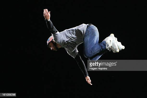 Chris Haffey performs an inline skating trick during Nitro Circus Live at Westpac Stadium on February 9 2013 in Wellington New Zealand