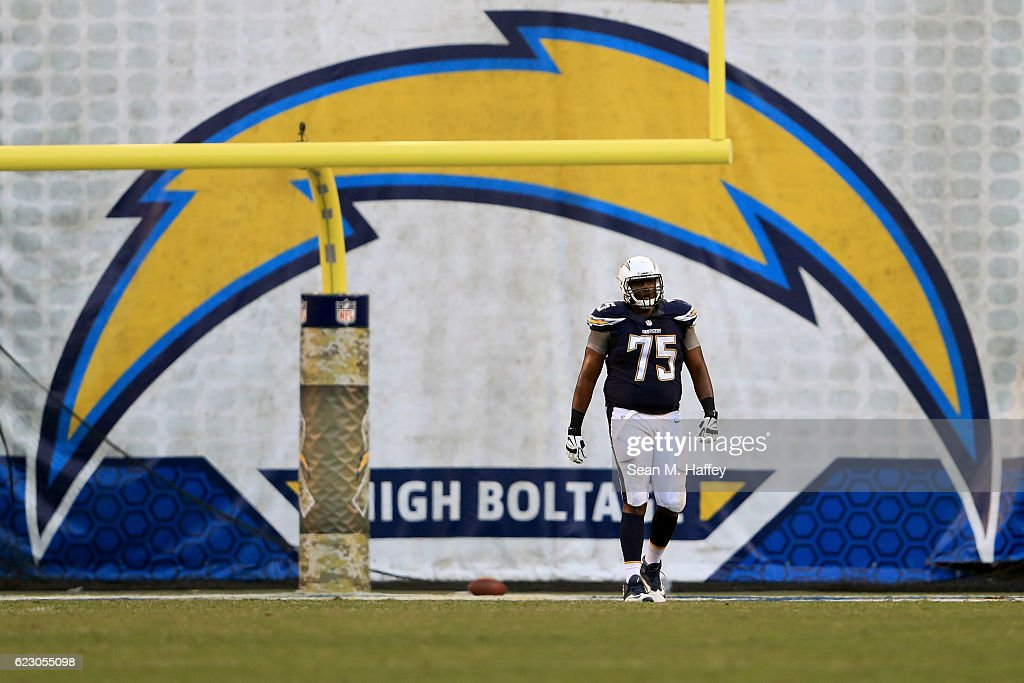 Chris Hairston #75 of the San Diego Chargers looks on after an interception was returned for a touchdown during the second half of a game against the Miami Dolphins at Qualcomm Stadium on November 13, 2016 in San Diego, California.