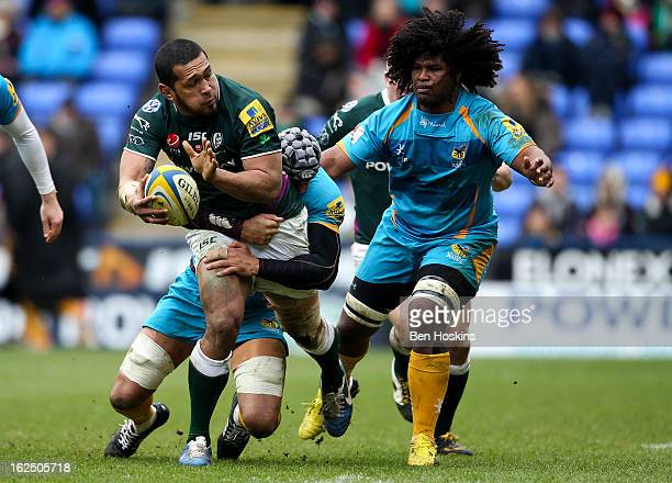 Chris Hala'Ufia of London Irish is tackled by Marco Wentzel of Wasps during the Aviva Premiership match between London Irish and London Wasps at the...