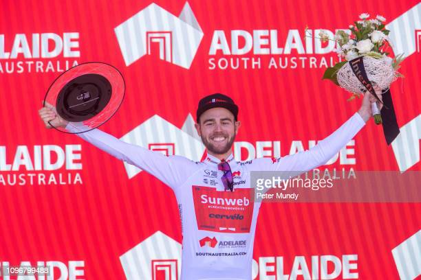 ADELAIDE AUSTRALIA JANUARY 20 Chris Hamilton of Australia and Team Sunweb celebrates wining the southaustraliacom Young Rider's Jersey after Stage 6...