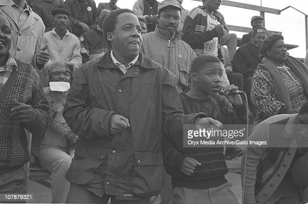 Chris Hani addresses a rally in Gugulethu soon after he returned from exile