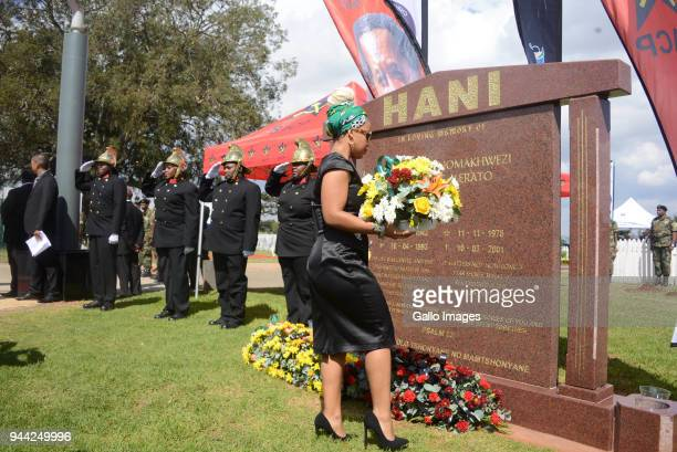 Chris Hani's daughter Lindiwe Hani at the wreath laying ceremony during the 25 year anniversary commemorating Chris Hanis death on April 10 2018 in...