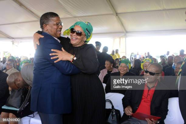 Chris Hani's Widow Limpho Hani and Fikile Mbalula during the 25 year anniversary commemorating Chris Hanis death on April 10 2018 in Boksburg South...