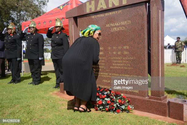 Chris Hani's widow Limpho Hani at the wreath laying ceremony during the 25 year anniversary commemorating Chris Hanis death on April 10 2018 in...