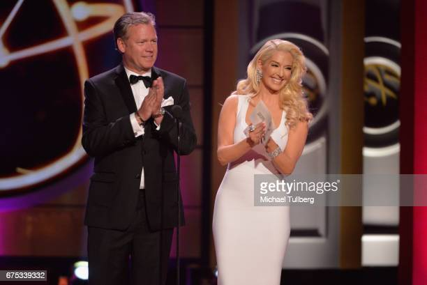 Chris Hansen left and Erika Jane speak at the 44th annual Daytime Emmy Awards at Pasadena Civic Auditorium on April 30 2017 in Pasadena California