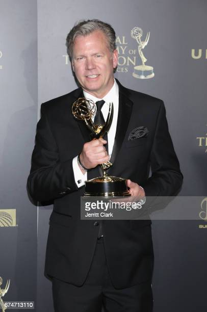 Chris Hansen poses with his Emmy award during the 44th Annual Daytime Creative Arts Emmy Awards Press Room at Pasadena Civic Auditorium on April 28...