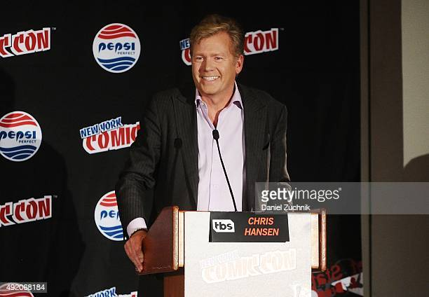 Chris Hansen speaks during the 'Angie Tribeca' panel at New York ComicCon 2015 at The Jacob K Javits Convention Center on October 9 2015 in New York...
