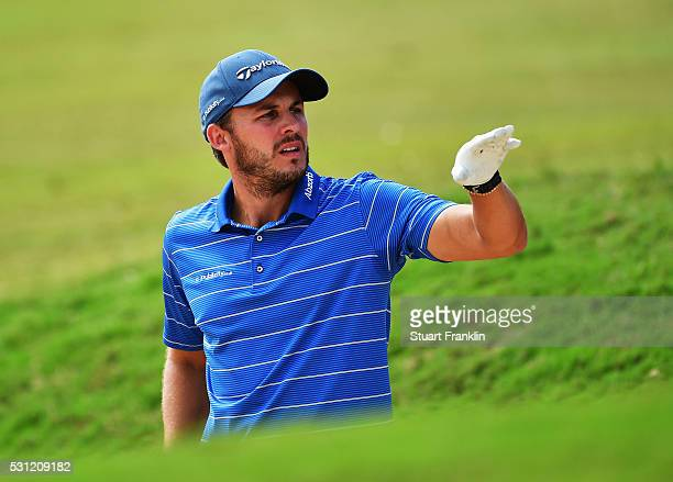 Chris Hanson of England gestures during the second round of AfrAsia Bank Mauritius Open at Four Seasons Golf Club Mauritius at Anahita on May 13 2016...