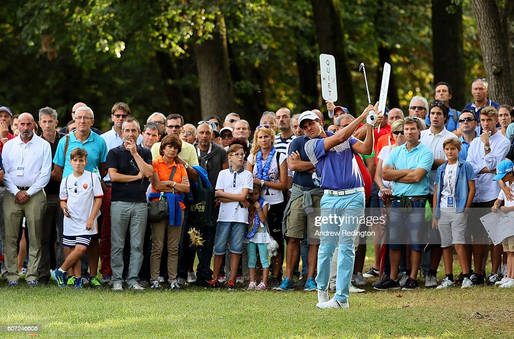 Chris Hanson of England hits his second shot on the 1st hole during the third round of the Italian Open at Golf Club Milano - Parco Reale di Monza on September 17, 2016 in Monza, Italy.