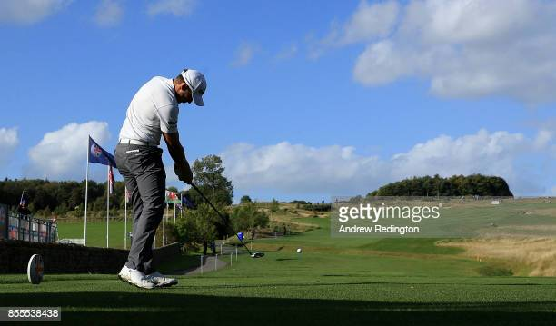 Chris Hanson of England hits his tee shot on the 12th hole during day two of the British Masters at Close House Golf Club on September 29 2017 in...