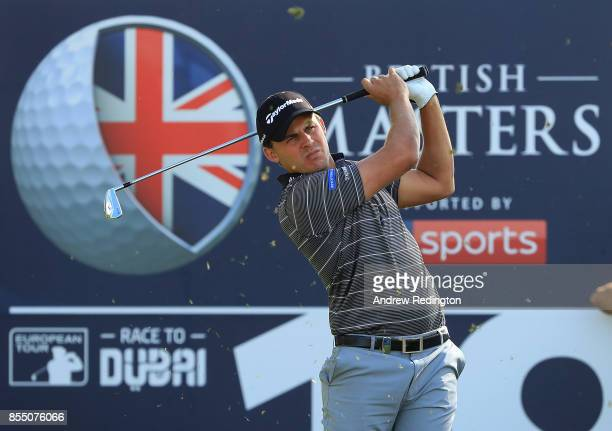 Chris Hanson of England hits his tee shot on the 18th hole during day one of the British Masters at Close House Golf Club on September 28 2017 in...
