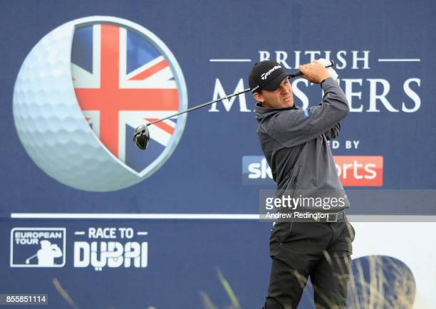 Chris Hanson of England hits his teeshot on the second hole during the third round of the British Masters at Close House Golf Club on September 30...