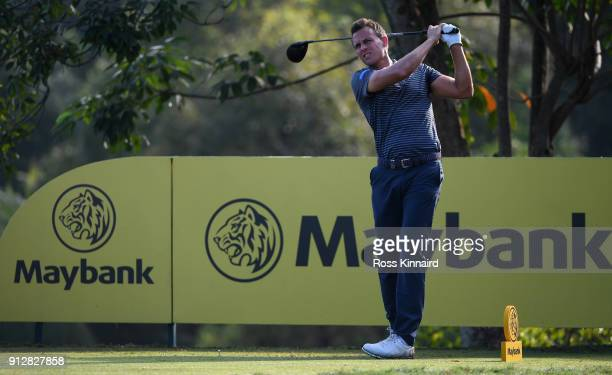 Chris Hanson of England in action during the first round of the Maybank Championship Malaysia at Saujana Golf and Country Club on February 1 2018 in...