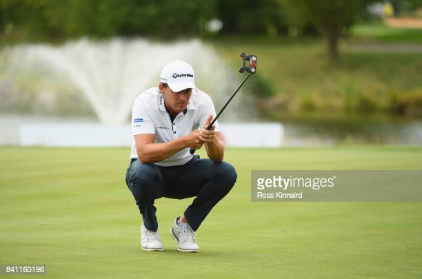 Chris Hanson of England lines up a putt on the 18th green during day one of the DD REAL Czech Masters at Albatross Golf Resort on August 31 2017 in...