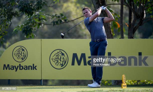 Chris Hanson of England on the 15th tee during the first round of the Maybank Championship Malaysia at Saujana Golf and Country Club on February 1...