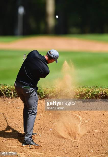 Chris Hanson of England plays from a bunker during day 2 of the Trophee Hassan II at Royal Golf Dar Es Salam on April 14 2017 in Rabat Morocco