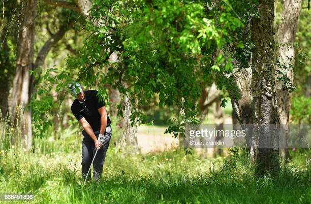 Chris Hanson of England plays out of trouble during day 2 of the Trophee Hassan II at Royal Golf Dar Es Salam on April 14 2017 in Rabat Morocco