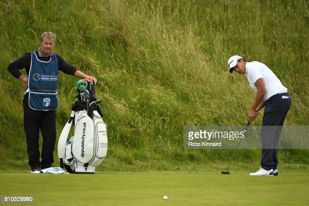 Chris Hanson of England putts on the 8th green during day two of the Dubai Duty Free Irish Open at Portstewart Golf Club on July 7 2017 in...