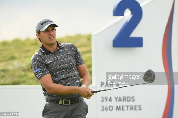 Chris Hanson of England tees off on the 2nd during the continuation of round 2 on day 3 of the DD REAL Czech Masters at Albatross Golf Resort on...
