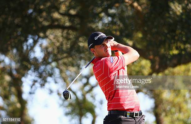 Chris Hanson of England tees off on the 2nd hole during day one of the Open de Espana at Real Club Valderrama on April 14 2016 in Sotogrande Spain